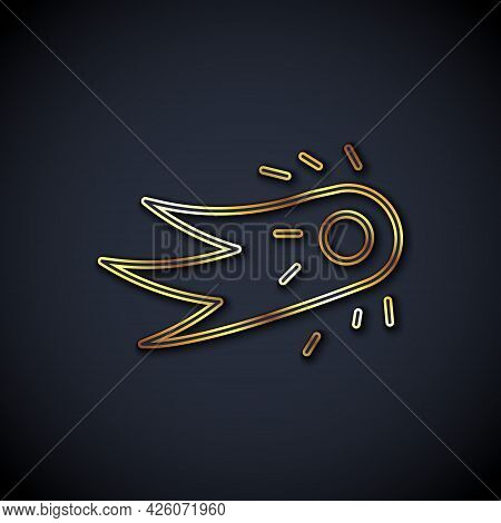 Gold Line Fireball Icon Isolated On Black Background. Vector
