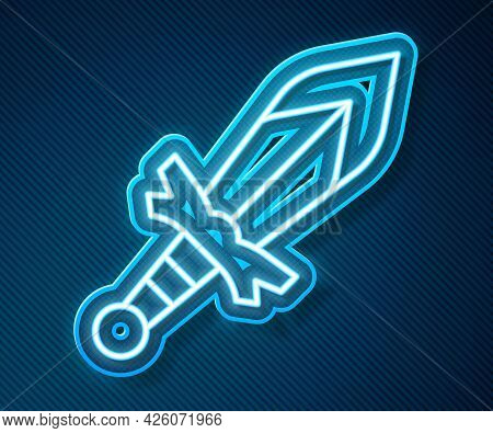 Glowing Neon Line Medieval Sword Icon Isolated On Blue Background. Medieval Weapon. Vector