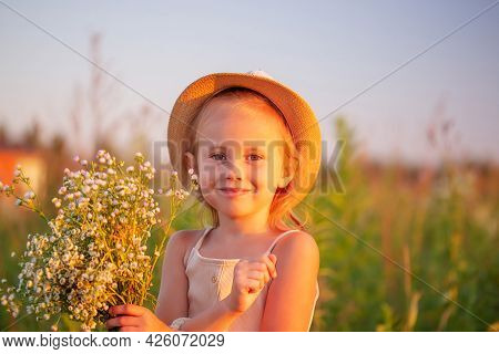 Happy Little Caucasian Girl 5 Years Old With A Bouquet Of Flowers Of Chamomiles Posing In The Meadow