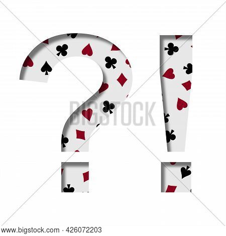 Card Games Font. Exclamation And Question Marks Cut Out Of Paper On The Background Of The Pattern Of