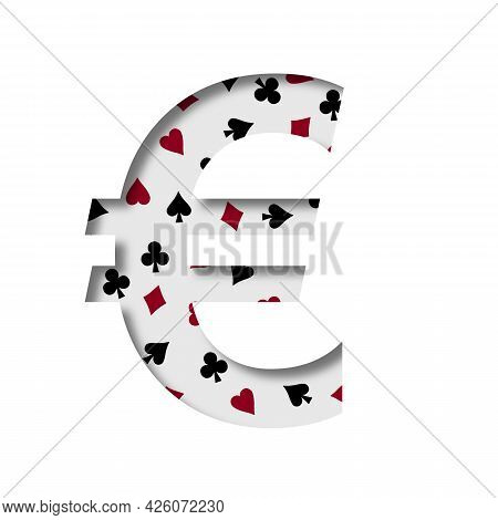 Card Games Font. Euro Money Business Symbol Cut Out Of Paper On The Background Of The Pattern Of Car