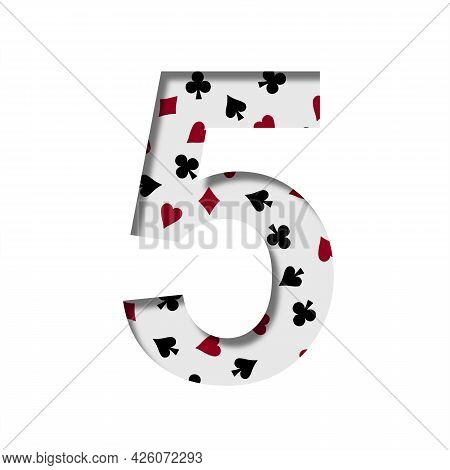 Card Games Font. Digit Five, 5 Cut Out Of Paper On The Background Of The Pattern Of Card Suits Spade