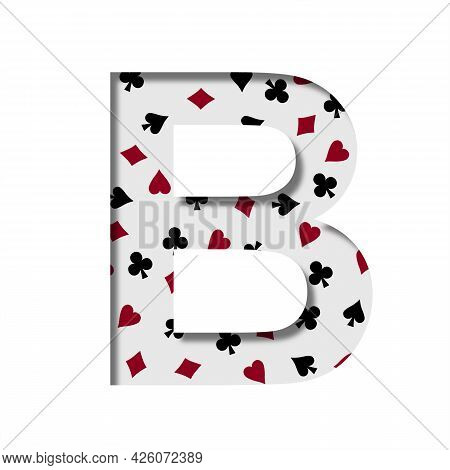 Card Games Font. The Letter B Cut Out Of Paper On The Background Of The Pattern Of Card Suits Spades