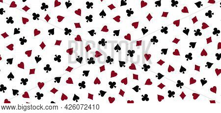 Pattern Of Card Suits Spades Hearts Diamonds And Clubs. Casino Card Games And Poker Background.