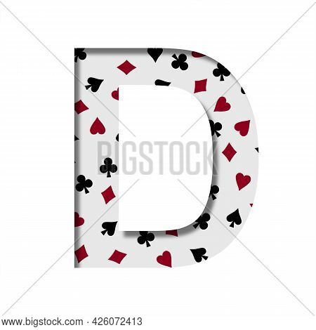 Card Games Font. The Letter D Cut Out Of Paper On The Background Of The Pattern Of Card Suits Spades