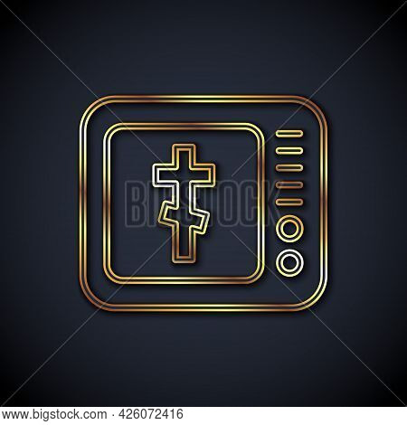 Gold Line Online Church Pastor Preaching Video Streaming Icon Isolated On Black Background. Online C