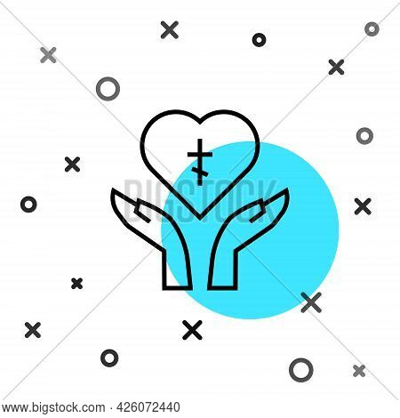 Black Line Religious Cross In The Heart Inside Icon Isolated On White Background. Love Of God, Catho