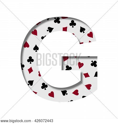 Card Games Font. The Letter G Cut Out Of Paper On The Background Of The Pattern Of Card Suits Spades