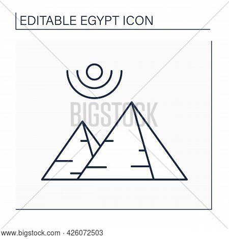 Pyramid Line Icon. Ancient Egypt Civilization Architectural Monument. Huge Stone Structures Built As