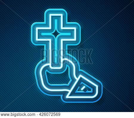 Glowing Neon Line Christian Cross Icon Isolated On Blue Background. Church Cross. Vector