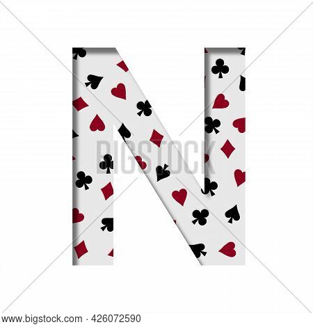 Card Games Font. The Letter N Cut Out Of Paper On The Background Of The Pattern Of Card Suits Spades