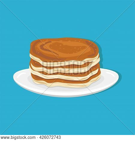 Flavored Breakfast Pancakes On A White Plate With A Blue Background