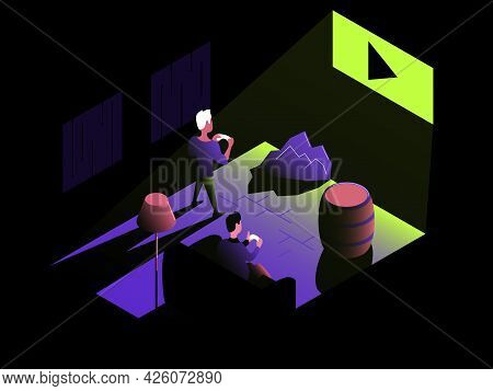 Play On Tv. Vector Composition In Gradient Style