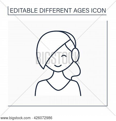 Times Of Life Line Icon. Puberty Period. Young Girl Grow Up. Teenager. Different Ages Concept. Isola