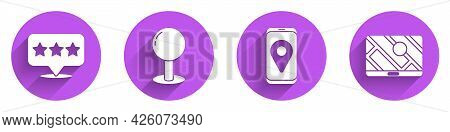 Set Map Pointer With Star, Push Pin, City Map Navigation And City Map Navigation Icon With Long Shad