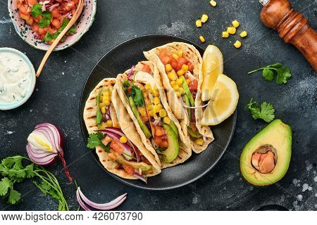 Mexican Tacos With Grilled Chicken, Avocado, Corn Kernels, Tomato, Onion, Cilantro And Salsa At Blac