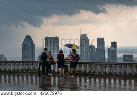 Montreal, Ca - 6 July 2021: Montreal Skyline And Skyscrapers With Storm Clouds And Heavy Rain