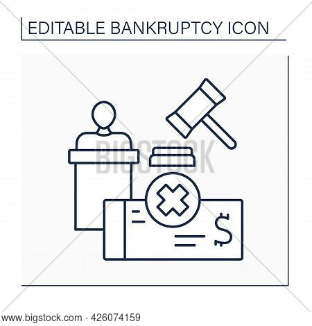 Administrator Line Icon. Person File And Maintain All Documents. Government Employee Monitor Transac