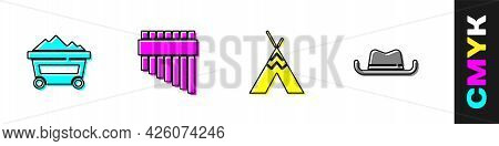 Set Coal Mine Trolley, Pan Flute, Indian Teepee Or Wigwam And Western Cowboy Hat Icon. Vector