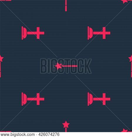 Set Tombstone With Cross And Magic Wand On Seamless Pattern. Vector