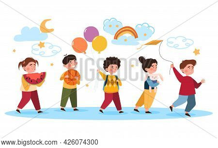 Kindergarten Concept. Children Go To Kindergarten With Their Most Favorite Toys. Funny And Friendly