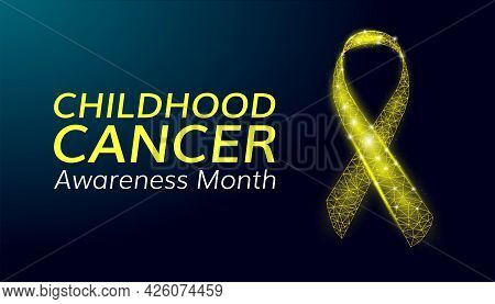 Childhood Cancer Awareness Month Concept. Banner Template With Glowing Low Poly Yellow Ribbon. Wiref