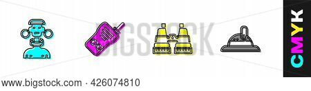 Set African Tribe Male, Walkie Talkie, Binoculars And Hunter Hat Icon. Vector