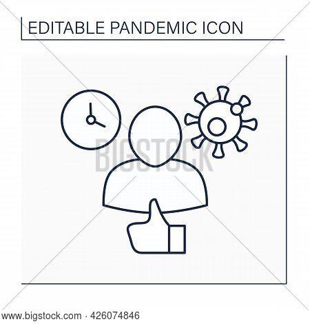 Asymptomatic Line Icon. None Of Key Covid-19 Symptoms During Entire Follow-up Period. Disease Mild F