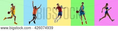 Collage Of Five Professional Sportsmen, Fit People In Action And Motion Isolated On Multicolored Bac