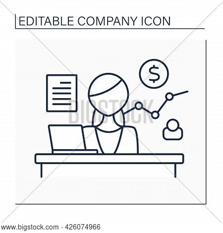 Sales Department Line Icon. Business Division Responsible For Selling Products Or Services. Research