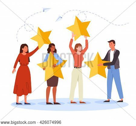 Reviews From Customers Concept. Different People Put Stars, Give Feedback And Make A Rating. Satisfi