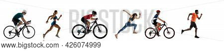 Sportsmen In Motion. Running Athletes And Cyclists Isolated On White Background. Flyer