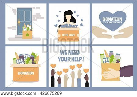 Set Of Vector Illustrations On The Topic Of Help And Donations To Those In Need. Delivery Of Groceri