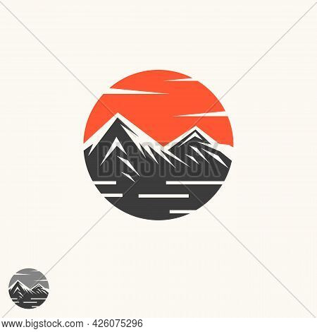 Abstract Vector Landscape Nature Or Outdoor Mountain View Silhouette. Mountains And Travel Icons For