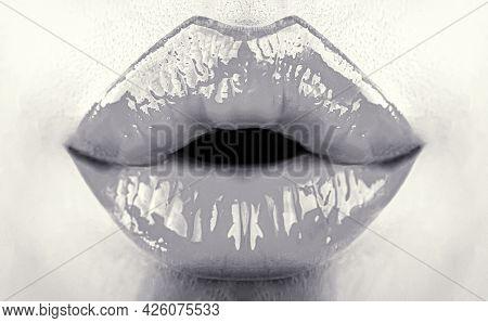 Beauty Sensual Lips, Beautiful Lip, Bright Lipstick. Closeup, Macro, Mouth, Sensual Makeup. Sexy Bea