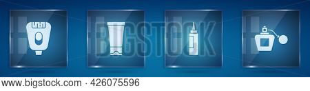 Set Epilator, Cream Lotion Cosmetic Tube, And Perfume. Square Glass Panels. Vector