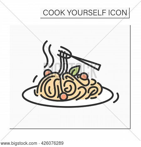 Spaghetti Color Icon. Fresh Veggie Pasta With A Variety Of Vegetables Homemade Healthy Lunch Or Dinn