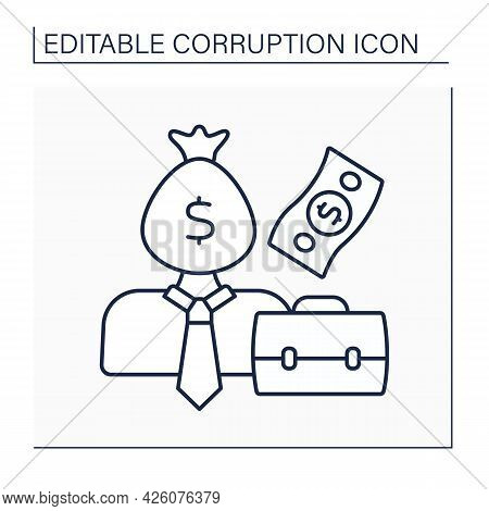 Corrupt Businessman Line Icon. Man Dishonestly Using Position Or Power To Get An Advantage. Propose