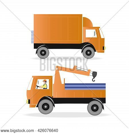 Set Of Two Trucks, A Truck For Transporting Goods And A Machine With A Winch, Manipulator. Vector Il