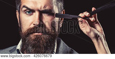 Barber Straight Razor, Barber Shop, Suit. Vintage Barber Shop, Shaving. Portrait Bearded Man. Vintag