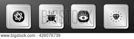 Set Tarot Cards, Witch Cauldron, Masons And Diamond Icon. Silver Square Button. Vector