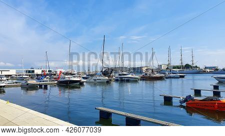 Gdynia, Poland - July 4, 2021: Motorboats And Boats In A New Modern Marina In Gdynia, Poland.