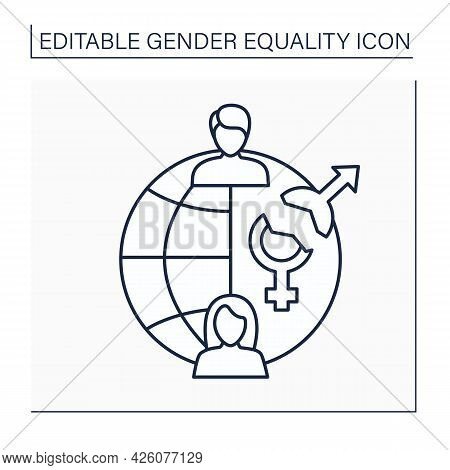Gender Gap Line Icon. Differences Between Women, Men Reflected In Political, Intellectual, Cultural,
