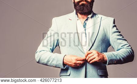 Sexy Male, Brutal Macho, Hipster. Male In Tuxedo. Elegant Handsome Man In Suit. Handsome Bearded Bus