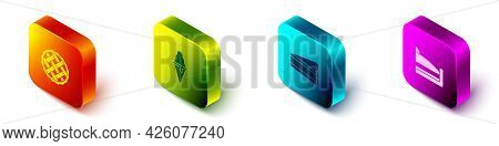 Set Isometric Homemade Pie, Ice Cream In Waffle Cone, Piece Of Cake And Icon. Vector