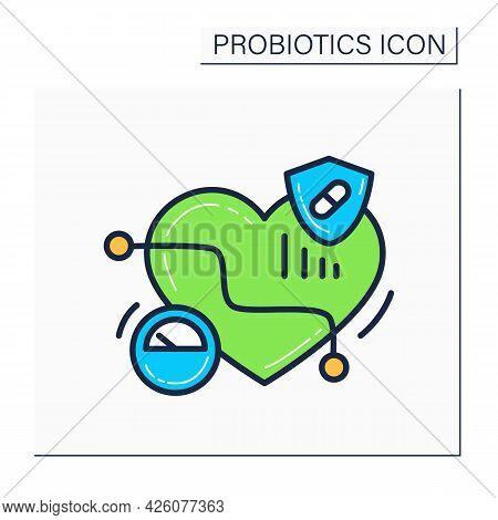 Probiotics Color Icon. Low Blood Pressure. Medicines And Dieting For Heart Hypertension Decrease.med