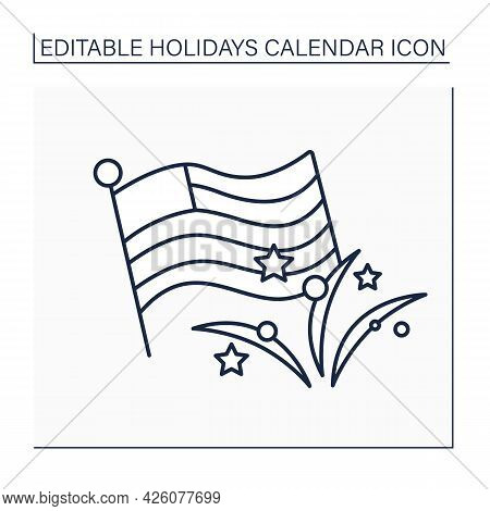 Independence Day Line Icon. Celebration Declaration Of Independence Of The United States. July 4. Ho
