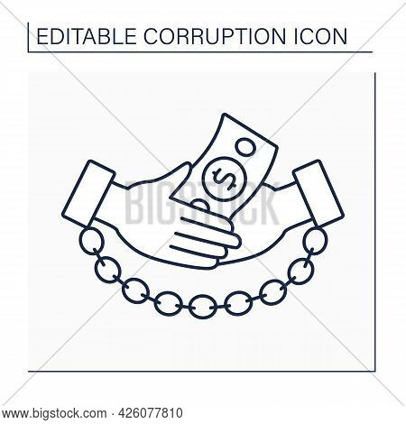 Bribery Line Icon. Giving Or Receiving Money With Aim Of Influencing Public Officials. Illegal Actio