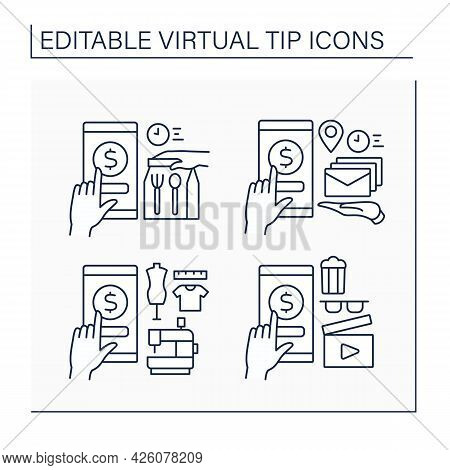 Virtual Tips Line Icons Set. Online Contributions For Mail And Food Delivery, Sawing Services And Ci