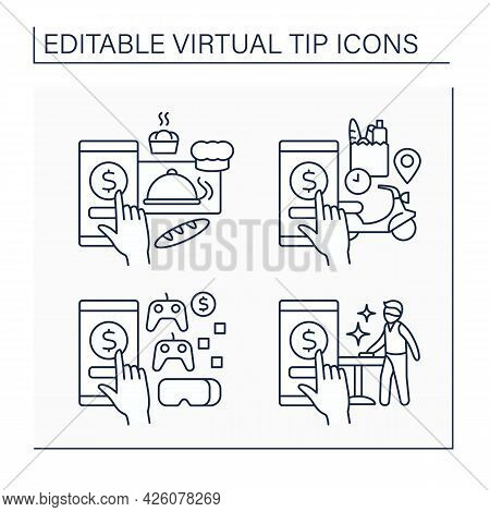 Virtual Tips Line Icons Set. Online Contributions For Bakers, Waiter, Gaming And Delivery. Donations